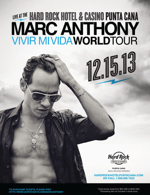 "International Superstar Marc Anthony Brings His ""Vivir Mi Vida"" World Tour To Hard Rock Hotel & Casino Punta Cana.  (PRNewsFoto/All Inclusive Collection)"