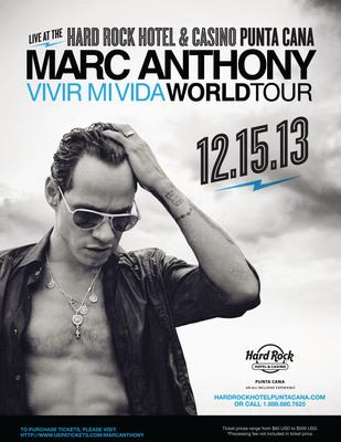 "International Superstar Marc Anthony Brings His ""Vivir Mi Vida"" World Tour To Hard Rock Hotel & Casino Punta Cana. (PRNewsFoto/All Inclusive Collection) (PRNewsFoto/ALL INCLUSIVE COLLECTION)"