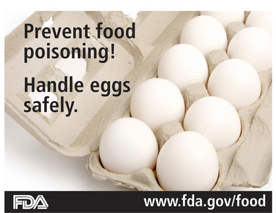 Prevent food poisoning! Handle eggs safely. www.fda.gov/food.  (PRNewsFoto/U.S. Food and Drug Administration)