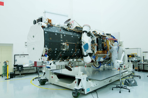 Ball Aerospace has completed integration of the imagery sensor for the WorldView-3 commerical remote-sensing ...