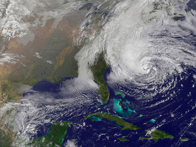 Hurricane Sandy, one of biggest storms to hit the US mainland, is expected to incur more losses than last year's Hurricane Irene. Credit NOAA National Hurricane Center.  (PRNewsFoto/Bermuda Institute of Ocean Sciences, NOAA National Hurricane Center)