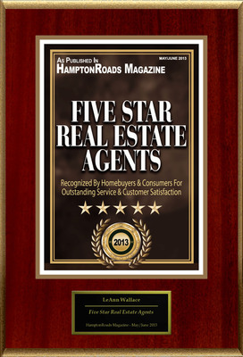 "LeAnn Amory-Wallace Selected For ""Five Star Real Estate Agents"".  (PRNewsFoto/American Registry)"
