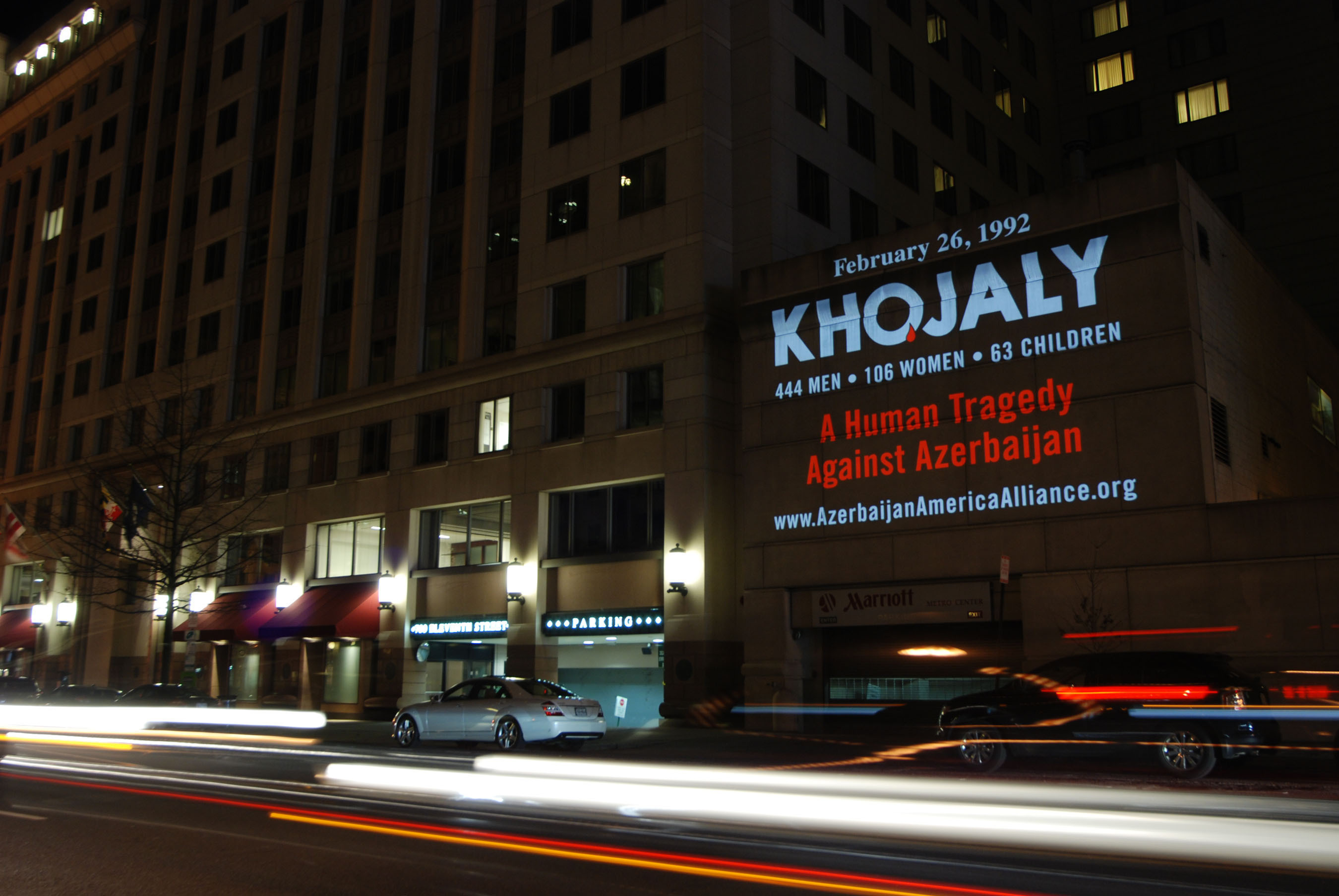 A national public awareness campaign commemorating the 22nd anniversary of the 1992 massacre of nearly 1000 Azerbaijani civilians in the village of Khojaly by Armenian and Russian military forces is bringing important attention to the status of refugees within Azerbaijan. The campaign, led by the American Azerbaijan Alliance, is currently underway in Washington, D.C. and New York City where hundreds of Khojaly posters are located at subways and at bus stops, and mobile projections on buildings throughout both cities in Washington, D.C. and New York with messages commemorating the human tragedy against Azerbaijan. (PRNewsFoto/Azerbaijan America Alliance) (PRNewsFoto/AZERBAIJAN AMERICA ALLIANCE)