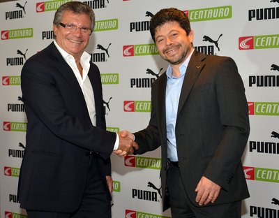 Centauro owner Sebastiao Bomfim with PUMA CCO Stefano Caroti at the announcement of the sub-licensing of contractual rights to the Cameroon, Ghana, Ivory Coast and Senegal Football Associations