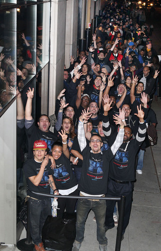 Fans attend the premiere for PARANORMAL ACTIVITY 3, from Paramount Pictures, at the Regal Union Square in New ...