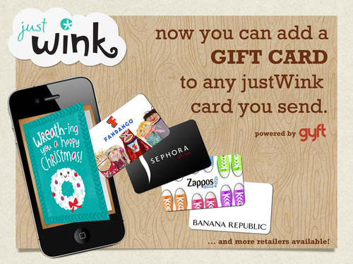 Add a gift card to your justWink digital cards with Gyft!(PRNewsFoto/American Greetings Corporation)