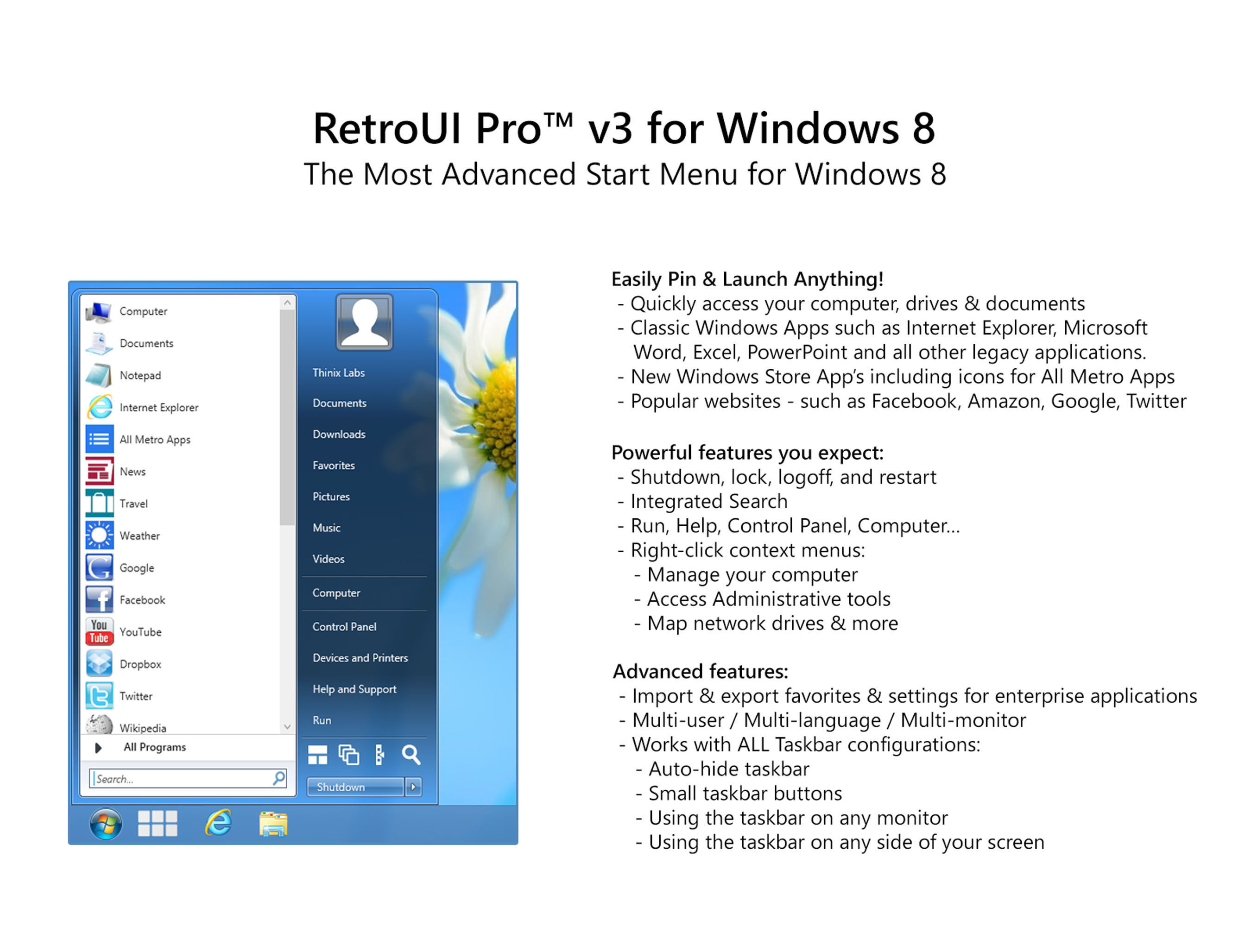 Thinix Announces RetroUI Pro 3: Brings the Efficiency and Simplicity of Windows 7 to Windows 8 PCs