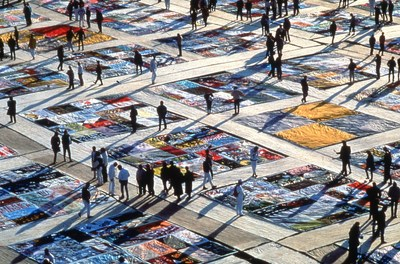 The AIDS Memorial Quilt displayed in Washington, D.C. in 1987