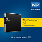WD's My Passport(R) Air(TM) Offers Mac Users 1 Terabyte of Storage in Compact, Stylish Package.  (PRNewsFoto/WD)