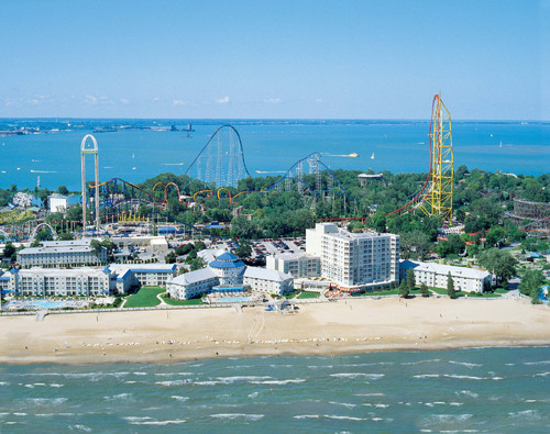 Cedar Point's historic Hotel Breakers is just one of the luxurious accommodations available to guests who ...