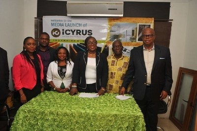 From left... Ms Olaolu Beckley, Online Communication Manger; Mr Ubong Hanson, Web Developer; Ms Anne Akalusi, iCyrus Project Consultant; Mrs Alero Imo, Managing Director/CEO iCyrus Online Merchant; Rev (Dr) Moses Iloh, General Overseer, Soul Winning Ministries; and Mr Agu Imo, Chairman, iCyrus, at the media launch of iCyrus online store platform in Lagos on Tuesday (PRNewsFoto/iCyrus Online Merchant)