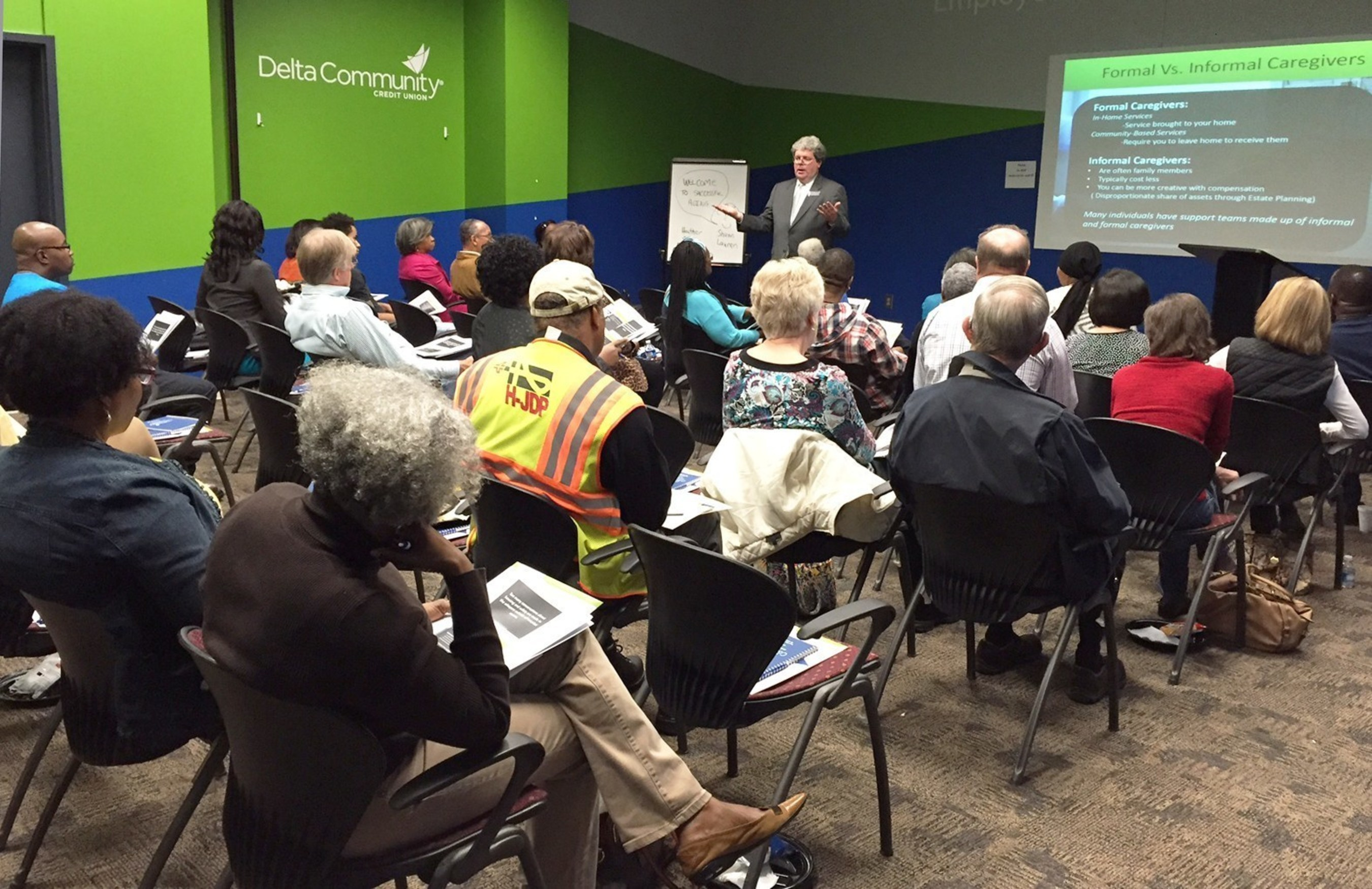 Financial Advisor Shaun Crawley represents Delta Community Retirement & Investment Services in a recent class, one of dozens included in the Delta Community Financial Education Center.