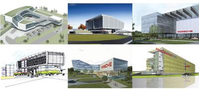 """Six different conceptual designs portray how the new Porsche Cars North America headquarters might look when PCNA moves to the """"Aerotropolis Atlanta"""" complex in 2013. (PRNewsFoto/Porsche Cars North America)"""