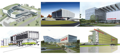 Six different conceptual designs portray how the new Porsche Cars North America headquarters might look when ...