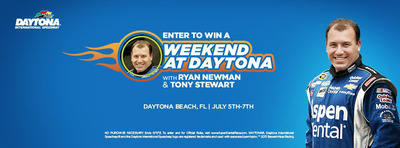 "Enter To win a weekend at Daytona with Ryan Newman and Tony Stewart, courtesy of Aspen Dental. Fans can enter to win the ""Weekend At Daytona With Ryan Newman and Tony Stewart"" sweepstakes and read the official sweepstakes rules at www.AspenDentalRace.com  between Thursday, May 16 and Friday, June 14, 2013.  (PRNewsFoto/Aspen Dental)"