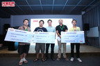 Perfect World CBO Xu Yiran and Vice President Zhang Yunfan take a picture with the top three winners (PRNewsFoto/Beijing Perfect World Network...)