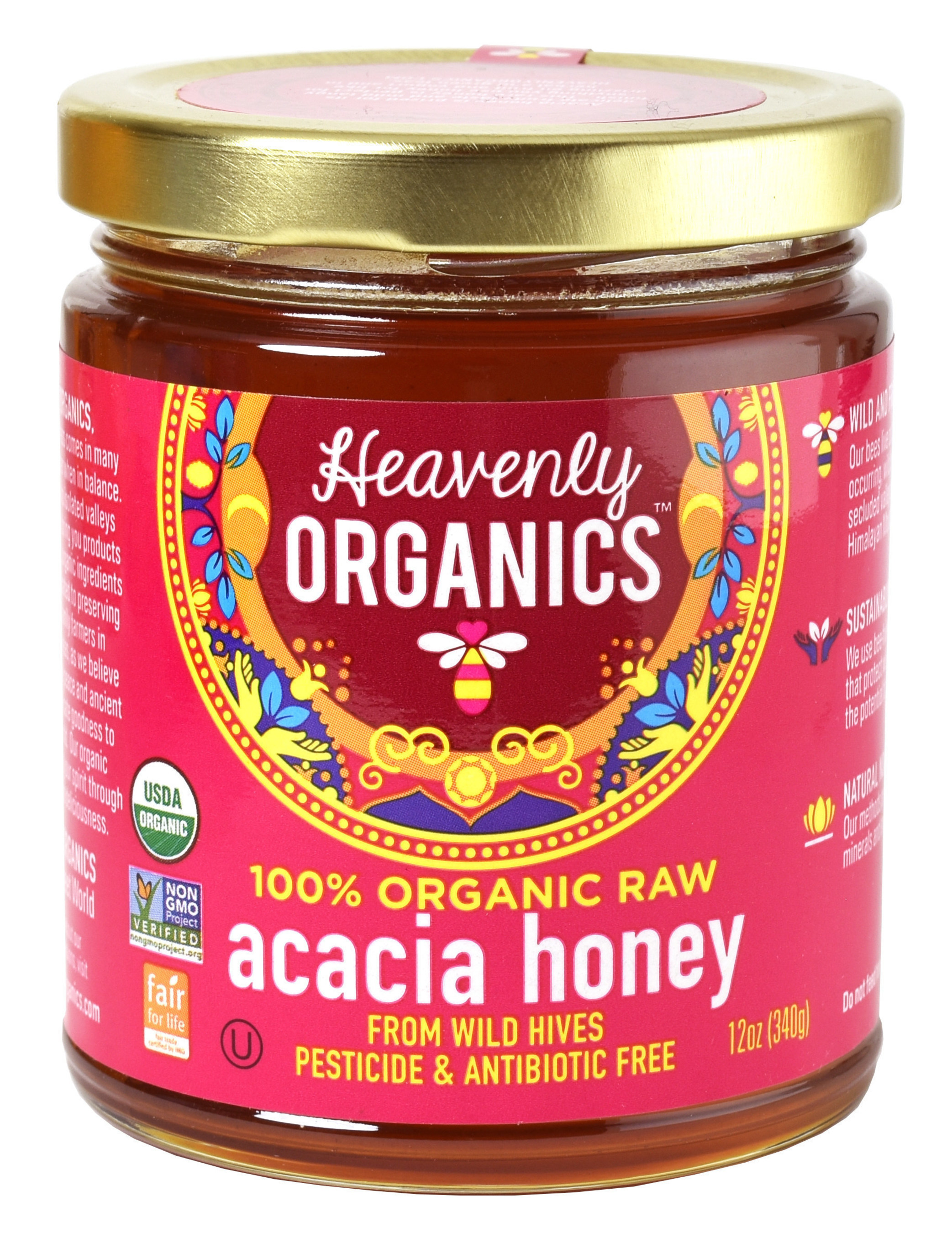 Heavenly Organics 100% Organic, Raw, Pesticide and Antibiotic Free Acacia Honey from Wild Beehives