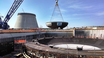 1.8 million-pound containment vessel bottom head placed at Vogtle Unit 4 May 7, 2014. (PRNewsFoto/Georgia Power Co.)