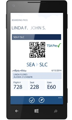 Alaska Airlines' new Windows Phone app enables users to purchase a ticket, track a flight and check-in. The carrier also has native apps for the iPhone and Android devices.
