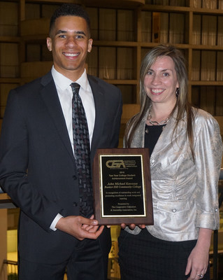 CEIA Award-winning student John Michael Kawooya with Sharon Schaff, Director of Career Advancement and Internships at Bunker Hill Community College.