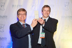 Andreas Jenny of mb microtec and Martin Zimmermann of Valtronic accept the Golden Mousetrap Award.  (PRNewsFoto/Valtronic)