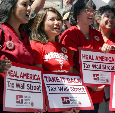 National Nurses Hold Nationwide Actions on Sept. 1 to Tax Wall Street.