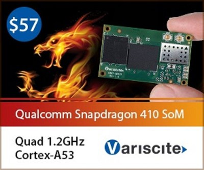 Variscite's DART-SD410 miniature 25x43mm System-on-Module, highly optimized power consumption with integrated connectivity and wide interfaces (PRNewsFoto/Variscite)