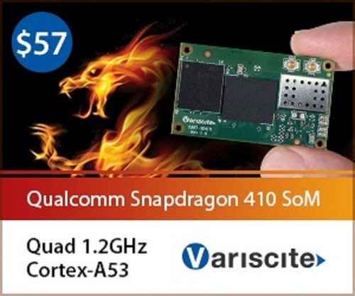 Variscite's DART-SD410 miniature 25x43mm System-on-Module, highly optimized power consumption with ...