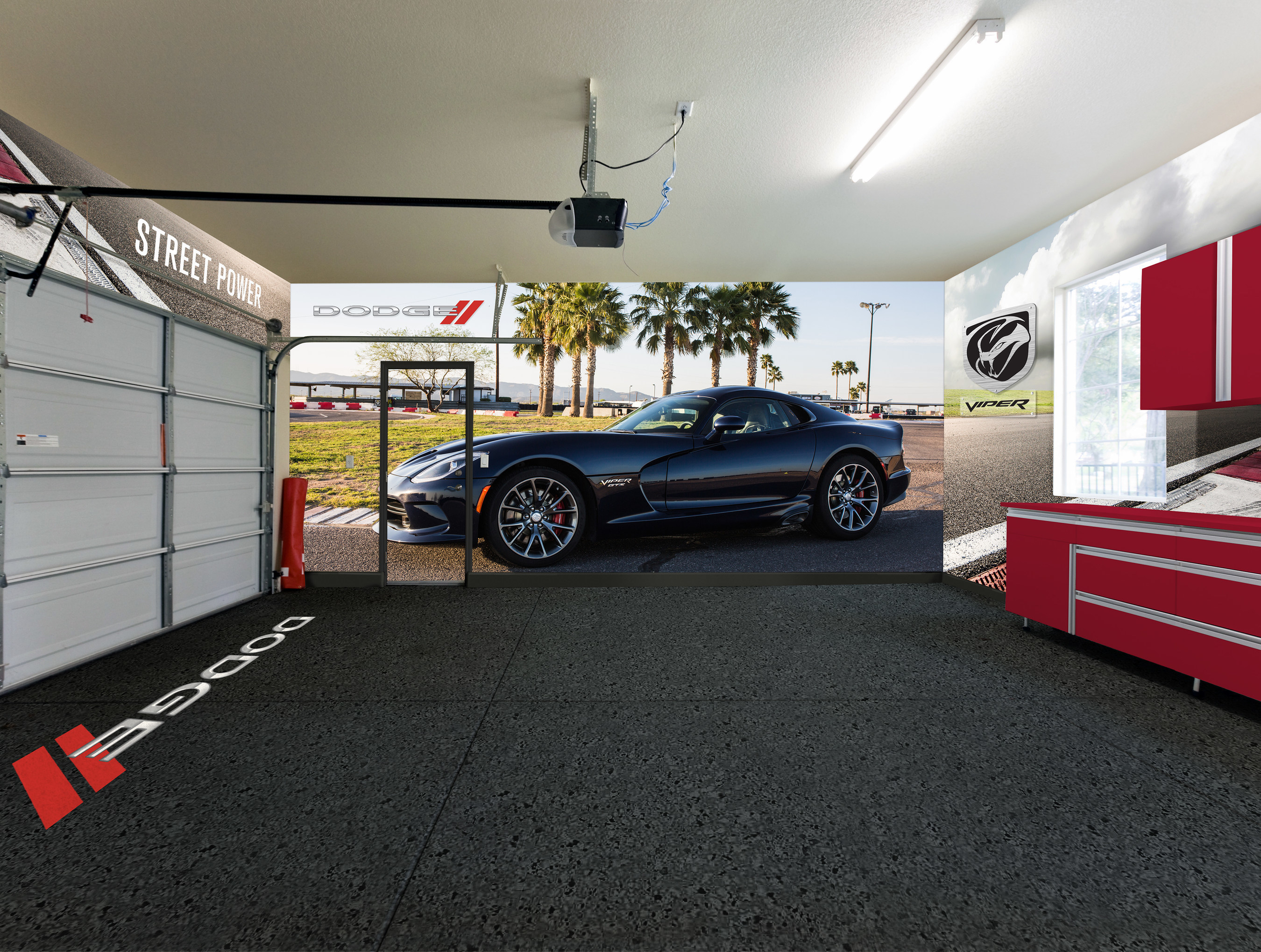Through an expanded partnership with the Detroit-based wall graphics company Fathead, Dodge just made creating the ultimate Dodge garage or special recreation space easier with a new line of floor-to-ceiling total coverage wall designs. Three full wall designs feature the Dodge Challenger SRT Hellcat, Challenger and Charger Scat Packs and Dodge Viper.