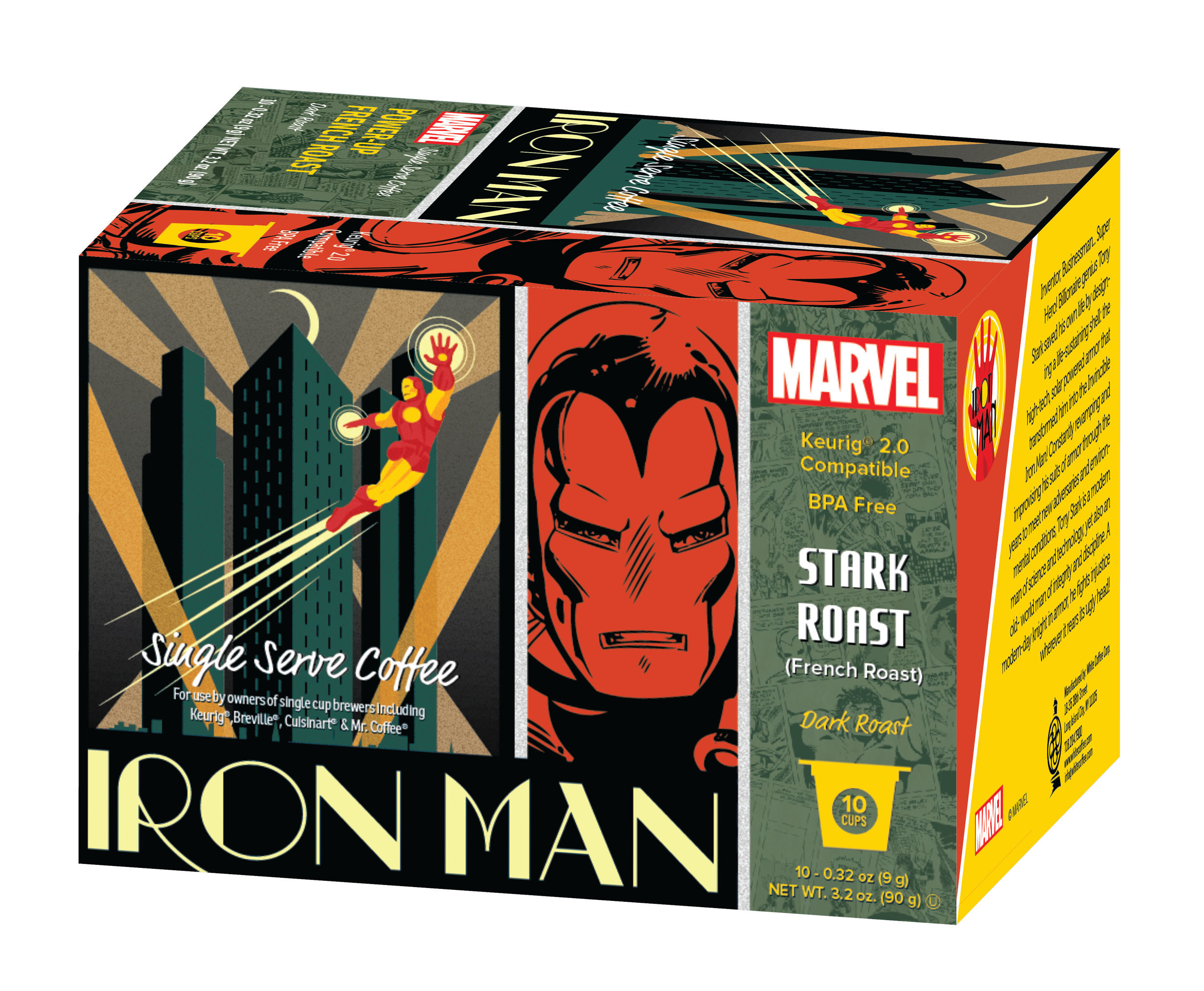"""The Marvel Comics Coffee line, a collaboration with White Coffee Corporation, consists of four single serve varieties, featuring Marvel's Super Heroes' likenesses splashed, in bold colors, across each 10-count box including: Iron Man's """"Stark French Roast,"""" Spider-Man's """"Daily Bugle Breakfast Blend,"""" Captain America's """"Shield Hazelnut"""" and the Incredible Hulk's """"Gamma Espresso Roast."""" The suggested retail price is $6.99."""