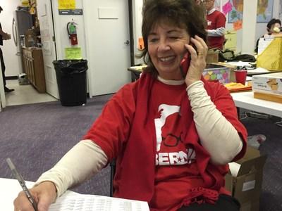 RoseAnn DeMoro phone banking for Sanders Monday