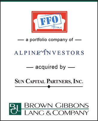 "Brown Gibbons Lang & Company (""BGL"") is pleased to announce that BGL's Consumer Products & Retail team served as the exclusive financial advisor to FFO Home, a furniture retailer and bedding manufacturer based in Fort Smith, Arkansas, a portfolio company of Alpine Investors, in connection with its recent sale to an affiliate of Sun Capital Partners, Inc."