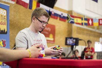 Philipp Weyer at the Europan Rubik's Cube Championship