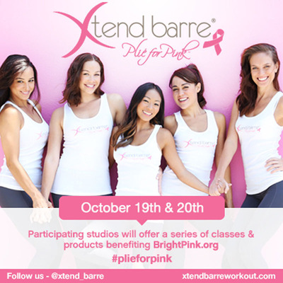 "Xtend Barre(R) Workout ""Plie for Pink"" initiative will take place in participating studios nationwide in fundraising and education event on October 19 and October 20, 2013 to benefit BrightPink.org, the only national non-profit organization with an exclusive focus on the prevention and early detection of breast and ovarian cancer in young women.  (PRNewsFoto/Xtend Barre)"