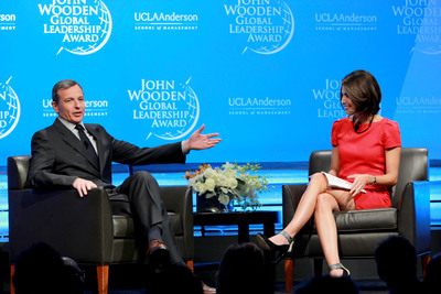 The Walt Disney Company Chairman and CEO Robert A. Iger speaks with ABC News Correspondent Cecilia Vega at the 2013 John Wooden Global Leadership Award dinner. (PRNewsFoto/UCLA Anderson School of Management) (PRNewsFoto/UCLA ANDERSON SCHOOL...)