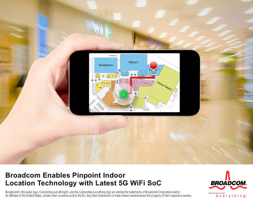 Broadcom Enables Pinpoint Location Technology with Latest 5G WiFi SoC.  (PRNewsFoto/Broadcom Corporation)