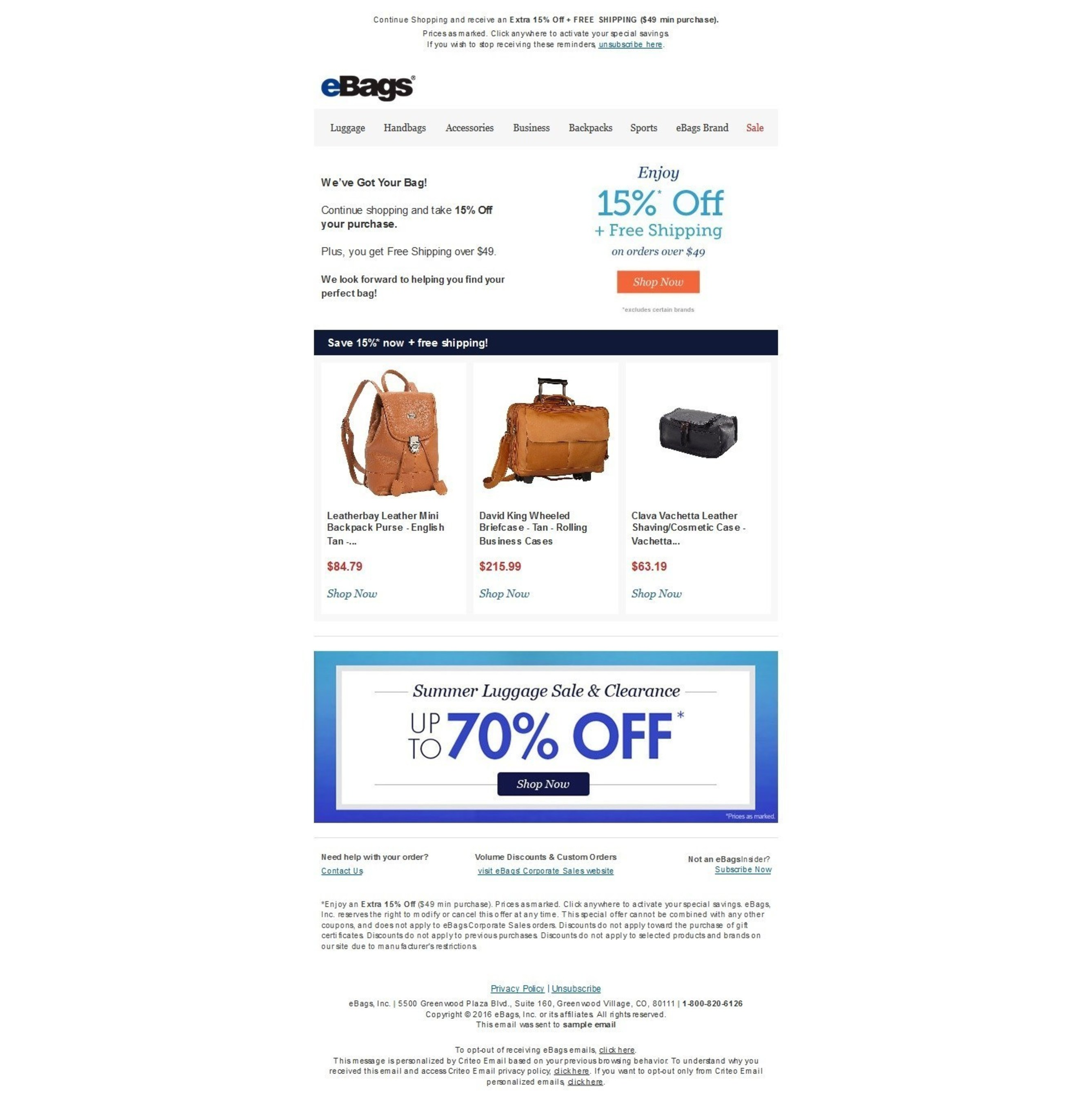 Example of an eBags retargeted email to a consumer powered by Criteo Dynamic Email.
