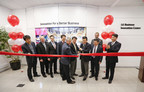 LG Electronics senior leadership perform the official ribbon cutting at the grand opening of the LG Electronics USA Business Innovation Center on Wednesday, February 3, 2016, in Lincolnshire, IL. From left to right: LG Electronics USA President of Parts & Service, Mr. Kyu-Moon Yu; LG Electronics USA VP of Hospitality, Michael Kosla; LG Electronics USA Head of Marketing, Commercial Displays, Garry Wicka; LG Electronics USA SVP of Commercial Displays, Kimun Paik; LG Electronics USA VP of Digital Signage, Clark Brown; Global President of Commercial Displays LG Electronics Soon Kwon; LG Electronics USA President & CEO William Cho; LG Electronics USA