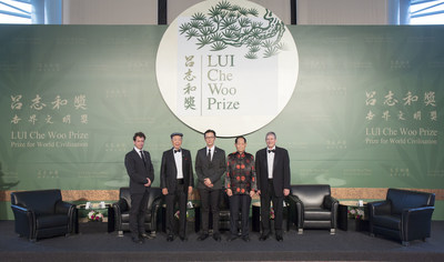 "From left: Mr. Rémi Carrier, Executive Director of Médecins Sans Frontières (MSF) Hong Kong, representing MSF, Welfare Betterment Prize Laureate. Dr. Lui Che Woo, Prize Founder; Dr. Chiels Liu Chen-Kun, President, MSF Hong Kong, representing MSF, Welfare Betterment Prize Laureate. Prof. Yuan Longping, Sustainability Prize Laureate; Mr. James Earl ""Chip"" Carter, III, representing Mr. James Earl ""Jimmy"" Carter, Positive Energy Prize Laureate."