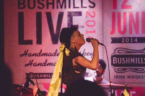 American indie-dance band RUBBLEBUCKET entertain the crowd at Bushmills Live 2014, the festival of handcrafted ...