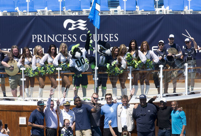 "Seattle Seahawks players and alumni were joined by the SeaGals and Blue Thunder to fire-up fans before Princess Cruises ""Sail with the 12s"" fan cruise departed from the Port of Seattle."