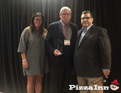 L-R Jill Neilsen, Bob Clairday and Pizza Inn President Bob Bafundo