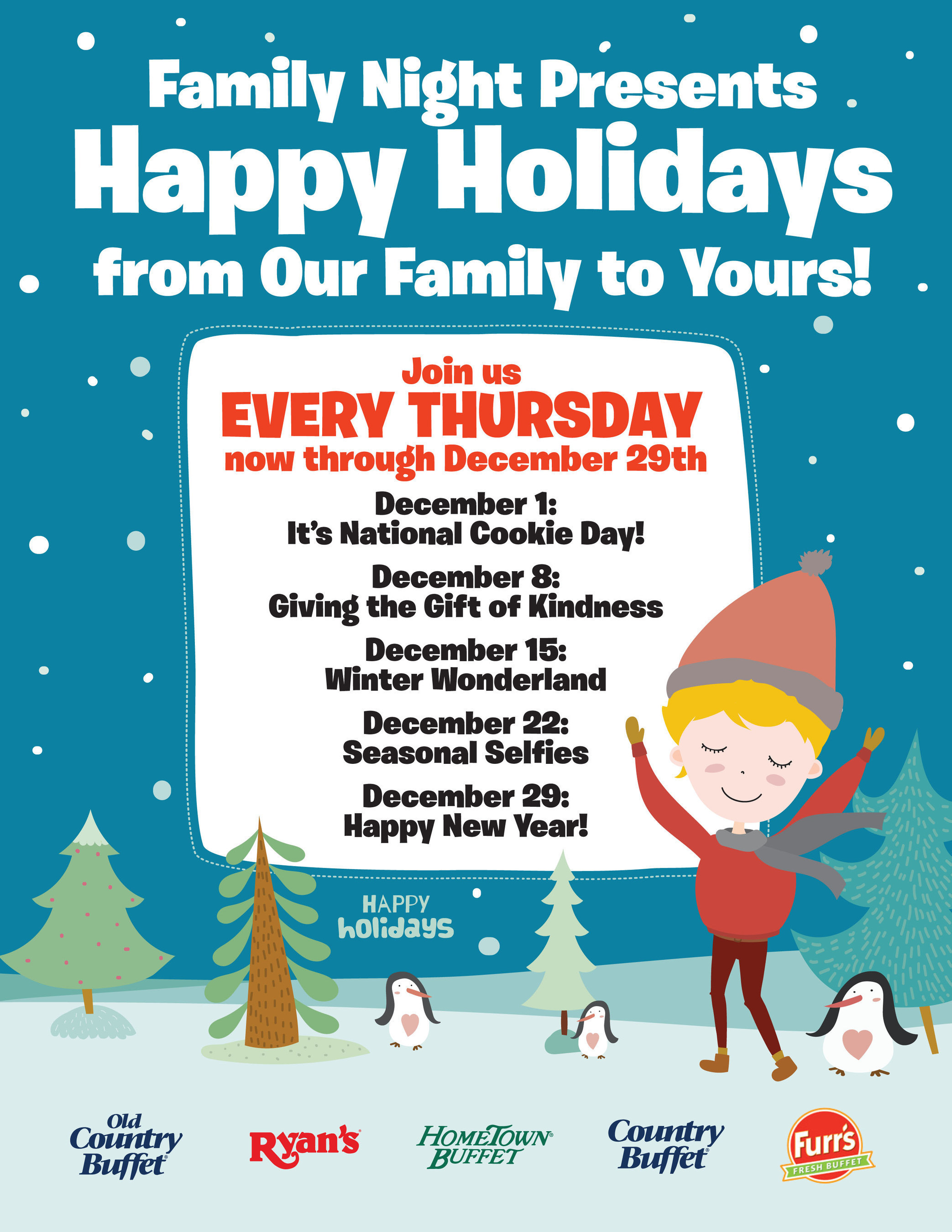 Ovation Brands and Furr's Fresh Buffet wish you happy holidays with Family Nights from December 1st through December 29th.
