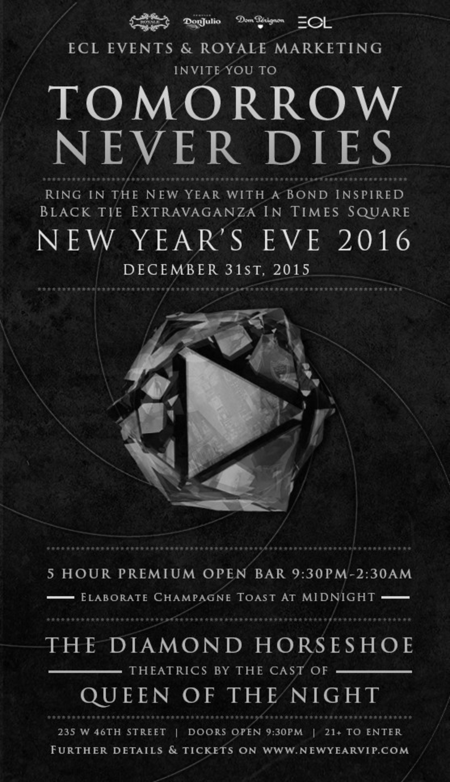 Royale Marketing Presents a Bond-Inspired New Year's Eve Gala at The Diamond Horseshoe in Times