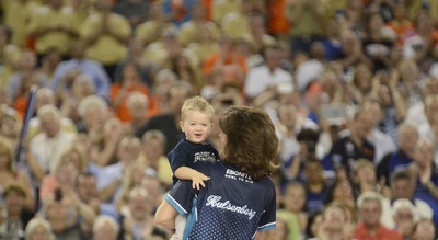 Bowling Goes Big Time in Big D: Pictured is Champion Leanne Hulsenberg With Her Son.  (PRNewsFoto/International Bowling Campus, Matt Strasen)