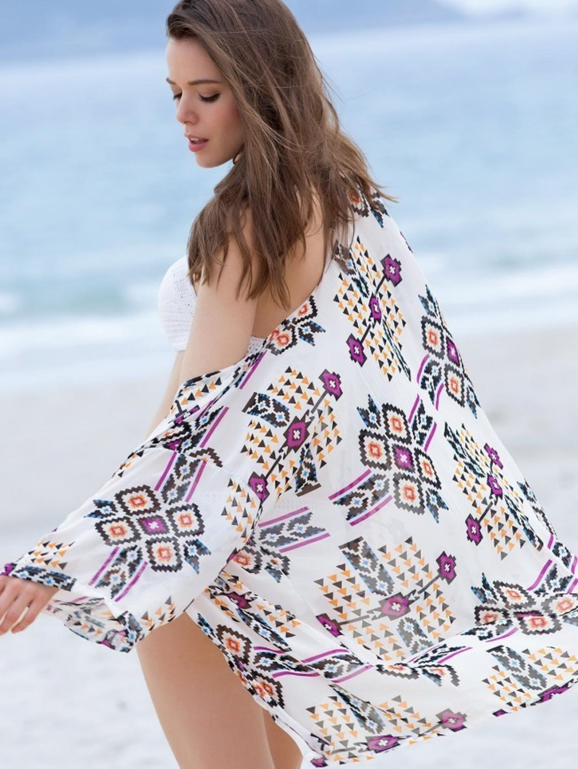 Long sleeve print bikini cover-ups by Sammydress