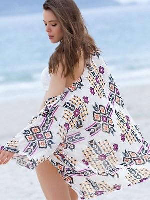 Long sleeve print bikini cover-ups by Sammydress