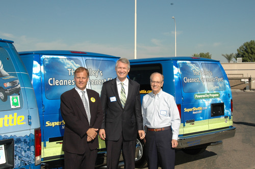 Dave Bird, Chief Operating Officer SuperShuttle, Jim Waring, Councilman Phoenix City Council and Bill Sheaffer, Executive Director, Valley of the Sun Clean Cities Coalition Celebrate new Roush Autogas Vans for the Phoenix Sky Harbor Airport, making Phoenix airport ground transportation one of the cleanest in the country.  (PRNewsFoto/SuperShuttle)