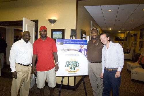 Larry Ballew, Everglades Preparatory Academy principal, Anquan Boldin, Carl Boldin and Pepe Fanjul Jr. announce partnership for youth programs at Q-81 Foundation's charity dinner at PGA National, Palm Beach.  (PRNewsFoto/Florida Crystals Corporation)