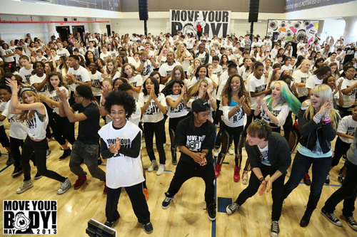 250,000 Kids Dance and Exercise in Support of First Lady Michelle Obama's Let's Move! Campaign at